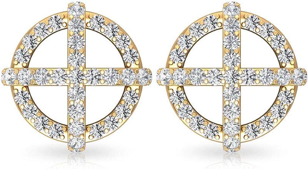 0.42 Carat Pave IGI Certified Diamond Cross Sun Earring Opening large release sale Stud Popular popular Vi