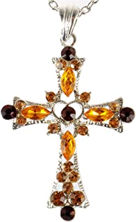 Alilang Heart Shape Center Holy Cross Synthetic Topaz Brown Crystal Rhinestone Pendant Necklace