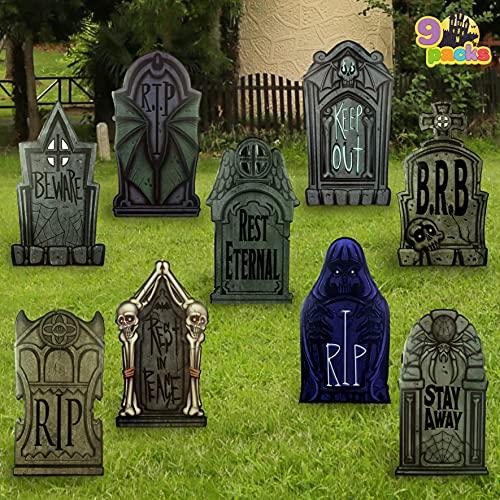 JOYIN 9 Packs 16.34″ Halloween Tombstone Yard Signs Decorations, Headstones for Halloween Yard Decoration, Outdoor Halloween Props, Halloween Lawn Yard Decorations, and Halloween Party Decor