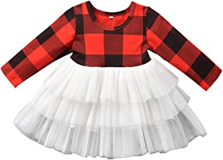 Baby Tutu Dress, Toddler Girl Christmas Outfit Buffalo Plaid Birthday Tulle Dresses Boutique Clothes