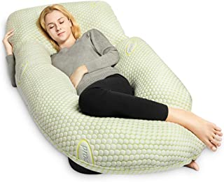 QUEEN ROSE Pregnancy Pillow Bamboo with Detachable Design,U Shaped Full Body Pillow Support for Back/Neck/Leg and Belly,Comes with Secure Belt