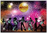 Allenjoy 7x5ft Vintage 70s Disco Decoration Backdrop for Parties Shining Neon Dancer Night Photography Background Glow Grazy Birthday Banner Photo Booth Props
