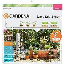 GARDENA Kit d'arrosage goutte-à-goutte pour plantes en pots M automatic: système Micro-Drip pratique avec programmateur pour 7pots et 3jardinières (13002-20)