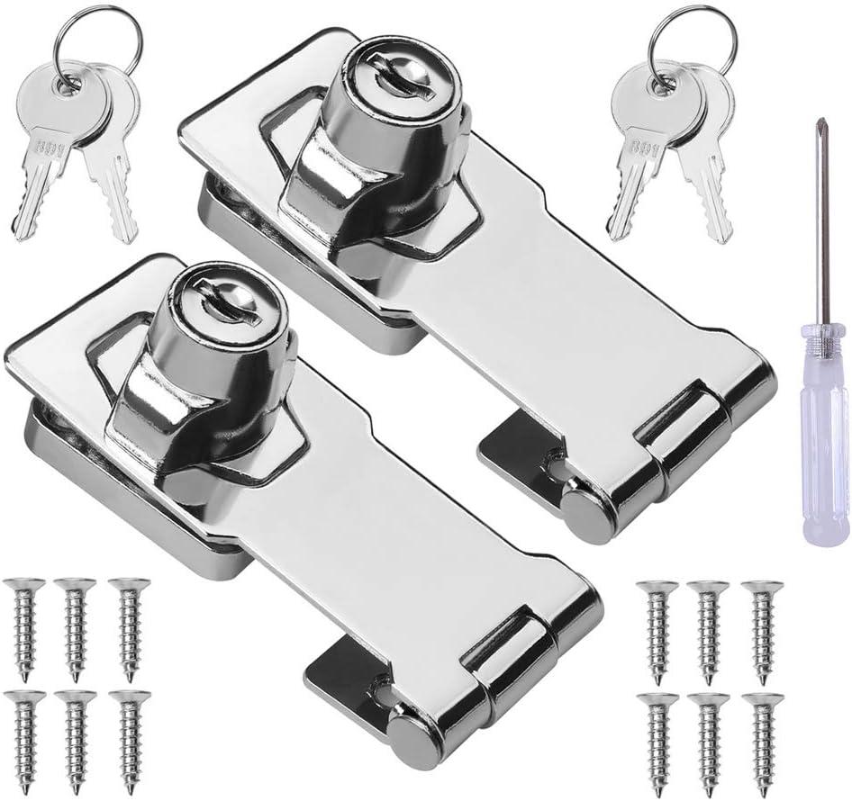 2 Packs Keyed Hasp Special sale item Locks Steel Knob Twist Lockin Popular brand Stainless
