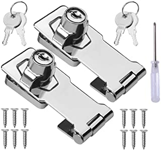 Semetall Keyed Hasp Locks 3 Pack Twist Knob Keyed Locking Hasp for Small Doors and Cabinets Zinc Alloy Small Lock with Keys and Mounting Screws 3 Inch,Black