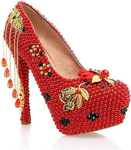 ZHRUI Les Les dames cachées Haute Plate-Forme Chaussures de soirée de Mariage de Mariage (Couleuré   rouge-14cm Heel, Taille   4 UK)