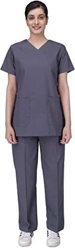 UNIFORM CRAFT Womens Scrub Suit - Ideal for Doctors, Nurses, Dentists and Healthcare Professionals (XL, GREY)