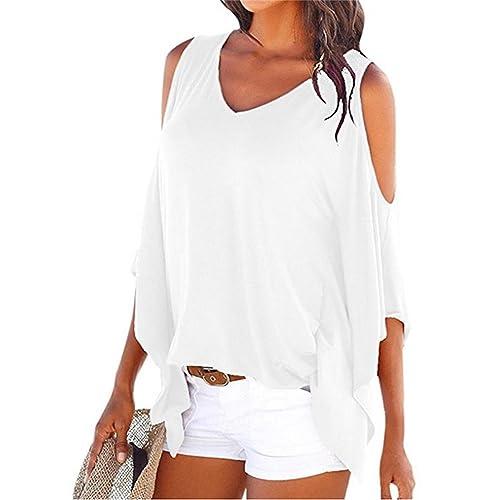 557b8448e1808c Miselon Womens Cold Shoulder Batwing Sleeve Top Summer Loose Blouse T Shirts