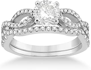 Infinity Twisted Shank Diamond Engagement Ring with Band Setting for Women Palladium (0.18ct)