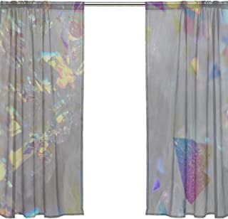 YKNFIS Angel Aura Opal Aura Aura Quartz Cluster Druzy Bedroom Curtains for Windows Patterned Sheer Curtains 54 X 84 Inches Long,2 Panels Kitchen Curtains Blackout Curtains for Kids Bedroom