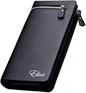 Elios Long Black PU Leather Wallet for Women (Black)