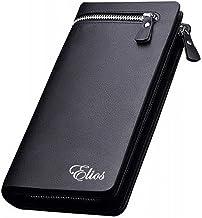 Men and Women Designer Long Black or Brown Zipper Wallet (Black)