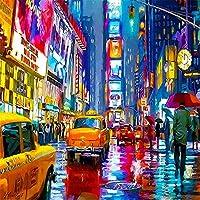 DMFNGJSD 数字油絵 フレームレス 、数字キット塗り絵 手塗り DIY絵-ストリートビュー 40X50cm