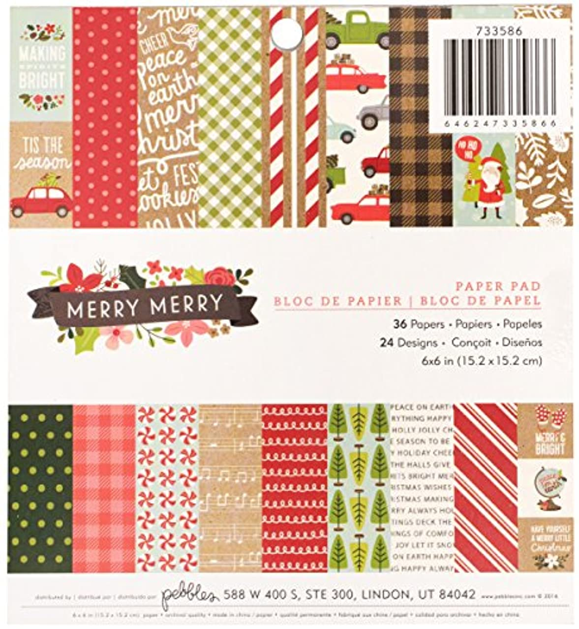 American Crafts Pebbles Merry 36 Sheet 6 x 6 Inch Paper pad