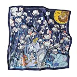 Bellette Mujer Panuelo de Seda Cuadrado para Bufanda Cuadrada de Seda Pañuelo Cabeza Cuello 70x70cm