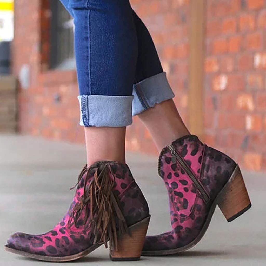 Womens Winter Booties,Claystyle Womens Ladies Rome Pointed Toe Large Size Fringe Chunky Heels Short Boots Shoes