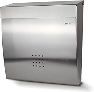 ZPWSNH Mailbox Stainless Steel Parcel Box Indoor and Outdoor with Lock Letter Box Creative Villa Wall-Mounted Mailbox 35x34x9cm Mailbox