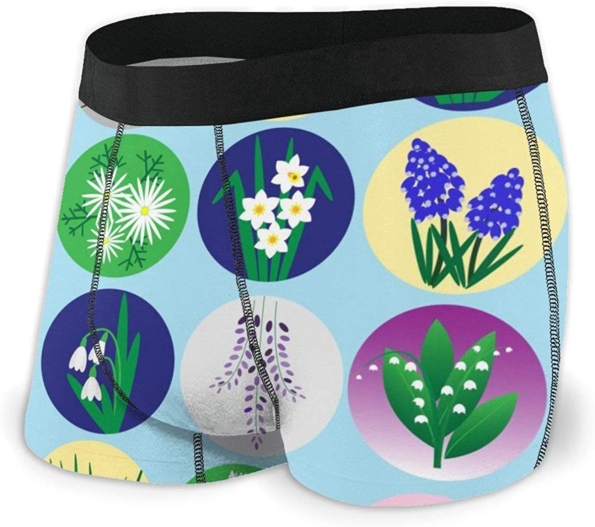Mens Underwear Colorful Spring Flowers Set Boys Boxer Briefs Trunks Low Rise Underpants Man