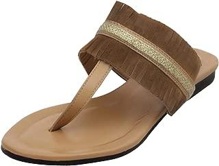 Salt N Pepper Women's Yellow Leather Fashion Sandals - 37 EU