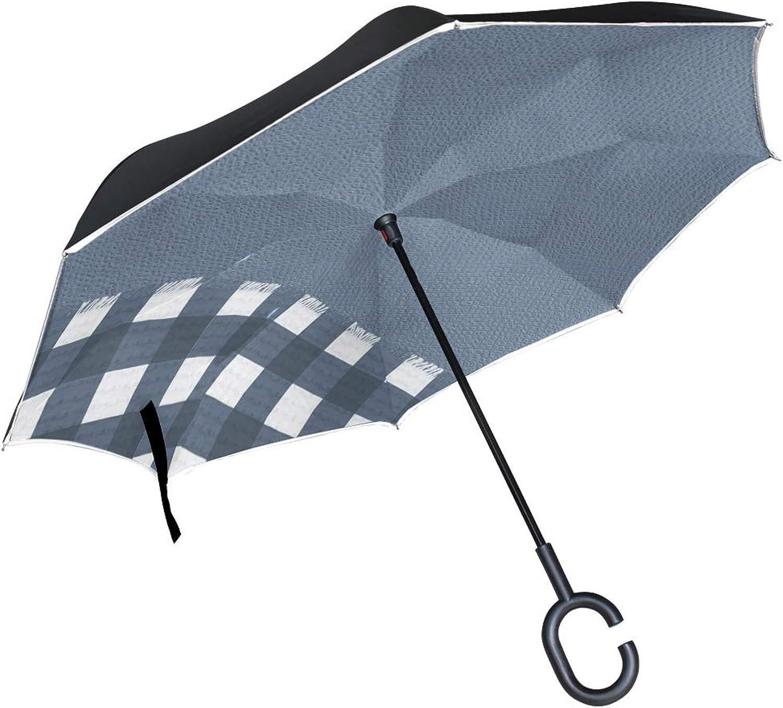 Double Layer Ingreened blueee Gingham blueee 1033318 Umbrellas Reverse Folding Umbrella Windproof Uv Predection Big Straight Umbrella for Car Rain Outdoor with CShaped Handle
