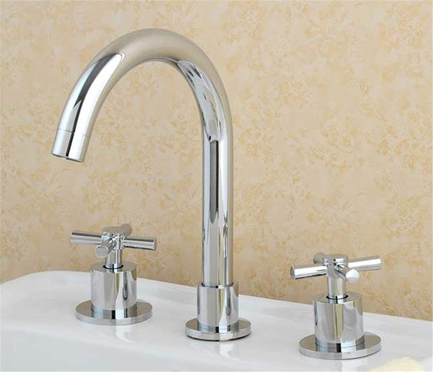 Oudan Basin Mixer Tap Bathroom Sink Faucet The licensed full copper antique continental 3 holes basin mixer jade gold basin Double Handle faucet and cold water,C (color   C)