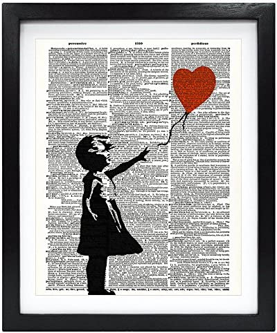 Susie Arts 8X10 Unframed Admiration for Banksy Girl with Balloon Upcycled Vintage Dictionary product image