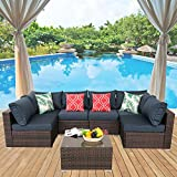 HTTH Patio Furniture Sets Outdoor Rattan Wicker Conversation Sofa Garden Sectional Sets with Washable Cushions Coffee Table (Deep Blue)