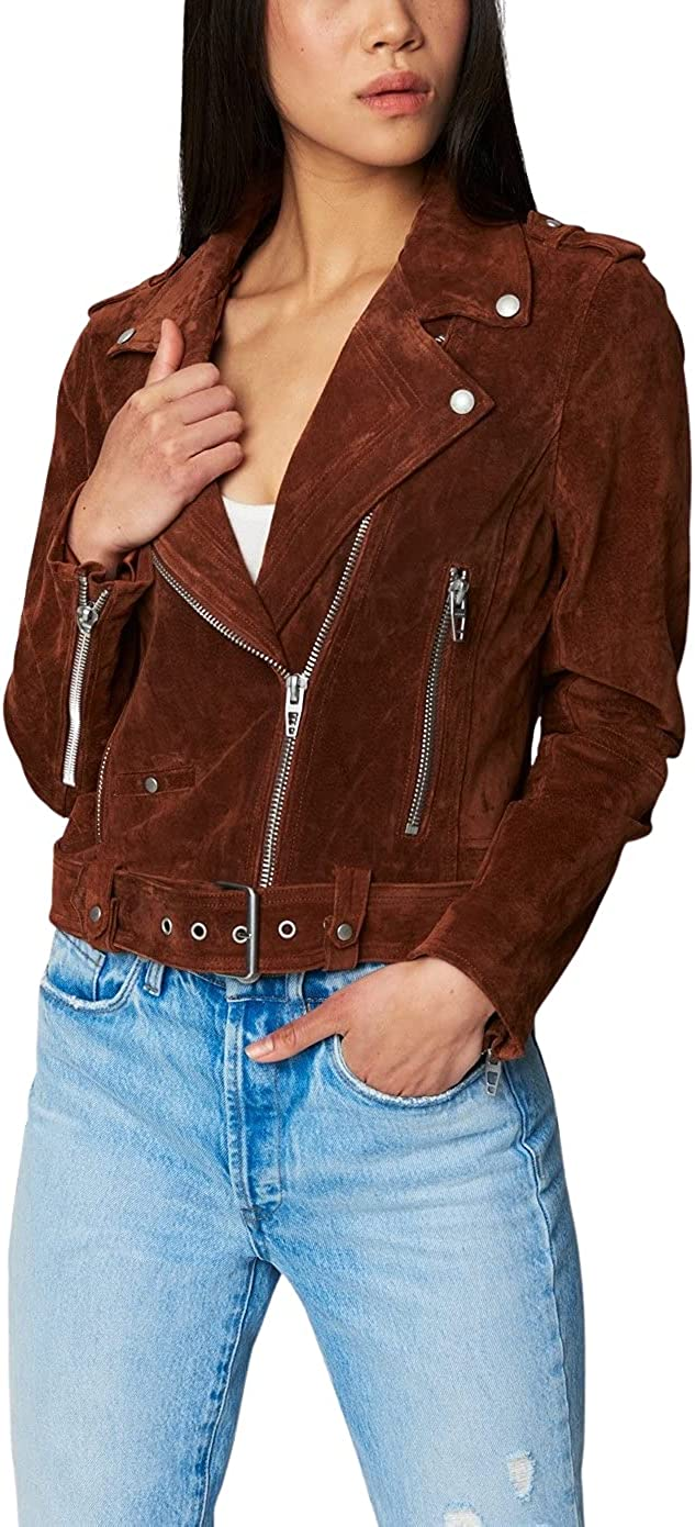 BLANKNYC womens Luxury Clothing trust Motorcyc Cropped Year-end annual account Leather Suede