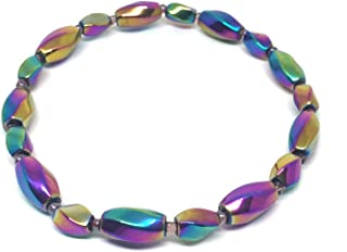 Nelson Creations Magnetic Rainbow Hematite Gemstone Healing Stretch Bracelet, 8.5 Inches