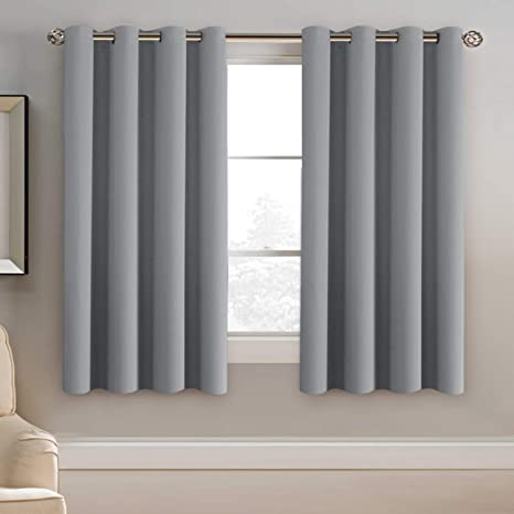 Amazon Com H Versailtex Blackout Grey Curtains 63 Inch Length Grey Thermal Insulated Curtains For Bedroom Grommet Top Thermal Insulated Short Curtains Drapes For Winter 1 Panel Dove Gray Home Kitchen