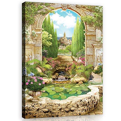 WANDBEELDING KANVASBEELD Muurschildering Canvas Kunstdruk Canvas | Zicht| Canvas Picture Print 11428_PP-MS | Zoek vijver Lilie muur bloemen planten O6 (80cm. x 60cm.) groen, geel