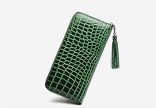 QSCFRET レザー牛革クロコダイルパターンの女性のロング財布ソリッドジップウォレットカードホルダー (Color : DQ9)