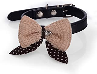1 Set PU Leather Pet Collar Dog Dogs Puppy Cat Animal Necklace Knit Bowknot Soft Elastic Bow Bell Tag Flower Consummate Popular Small Reflective Safety Breakaway Training Camo Kitten Collars