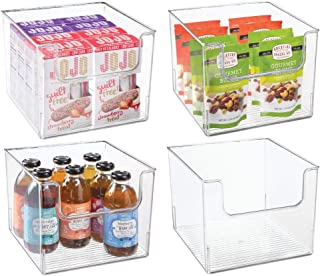 mDesign Set of 4 Storage Trays – Open Top Kitchen Tray for Food Storage Made of Plastic – Ideal in the Kitchen Cupboards o...