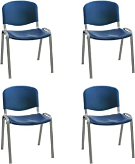 Silla confidente ISO apilables Ideal para Salas reuniones plástico Polipropileno Patas Acero en Gris (Pack 4 Unidades) (Azul)