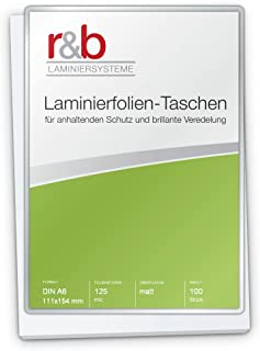 111 x 154 mm 2 x 100 mic Beutelware glänzend Laminierfolien A6