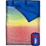 Chillbo Double Sleeping Bag for Adults - Queen Sleeping Bag for Backpacking, Camping, Hiking & Music Festivals Cool Patterns Queen Size XL 2 Person Sleeping Bags for Adults (Rainbow)