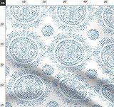 Delft, Blau Und Weiß, Damast, Rosen Stoffe - Individuell