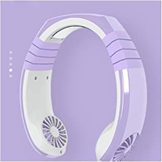 Table Fan Mini Air Cooling Fan USB Portable Hanging Neck Air Cooler Electric Fan Desktop Fan (Color : Purple)