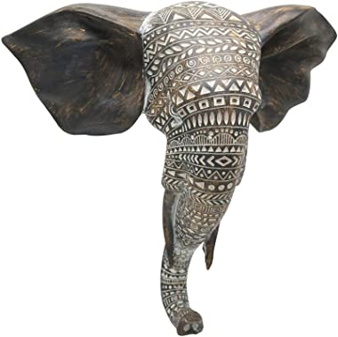 "Otartu African Elephant Wall Bust Sculpture 11"" Tall Carved Noble Elephant Head Hanging Wall Decor Art Wooden Color (Elephant"