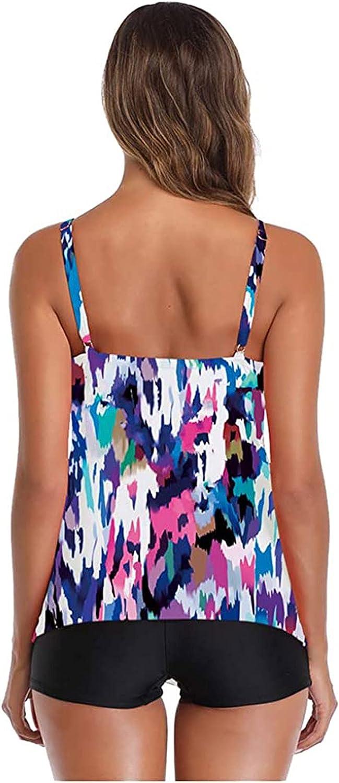 Yebobo Women Tankini Swimsuit Tummy Control Layered Ruffle Flounce Two Piece Bathing Suit with Boyshorts Flowy Swimsuits