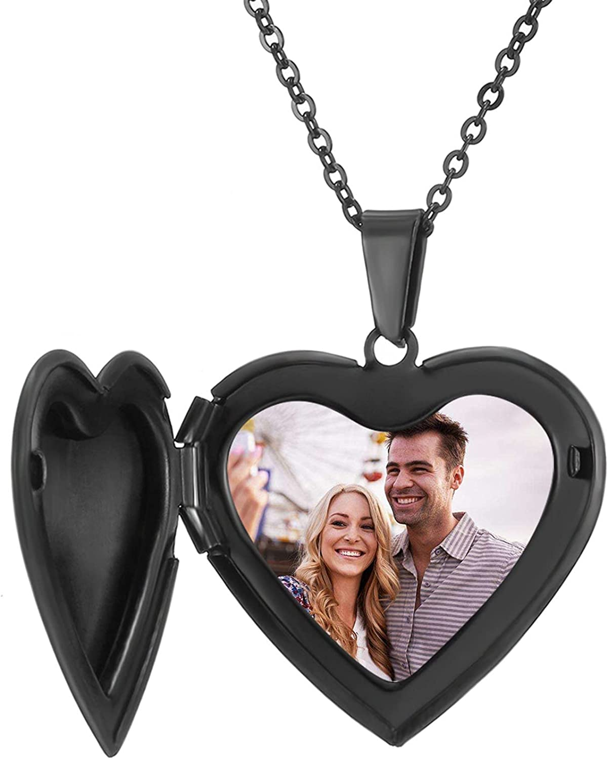 RWQIAN Personalized Heart Locket Necklace Custom Photo Locket Necklace for Women Picture Locket Pendant Necklace Engraved Any Text & Symbols Customized Lockets for Girl