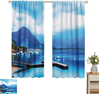 June Gissing Scenery House Decor Insulated Blackout Curtain Italian Village with Harbor and Sail Boats Magical Countryside Rural Photo Party Darkening Curtains W55 x L39 Blue
