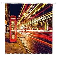ロンドンの赤い電話ボックスカラフルなネオンライト浴室の窓の装飾のための生地のホックが付いているポリエステル防水シャワー・カーテン60X72in