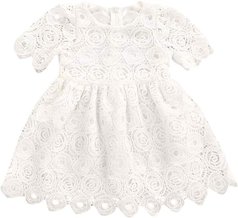 Ivyi Girl Floral Lace Short Sleeve Princess Formal Dress Outfits Mar14 Wh 12M