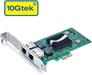 10Gtek for Intel 82576 Chip 1.25G Gigabit Ethernet Converged Network Adapter (NIC), Dual RJ45 Copper Ports, PCI Express 2.0 X1, Same as E1G42ET