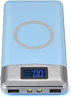 Radorock 10000 mAh Power Bank Qi Wireless Charging 2 USB LCD LED Cargador de batería portátil, Azul