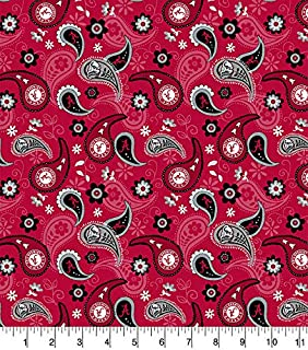 University of Alabama Cotton Fabric with Paisley Design-Newest Pattern-Alabama Crimson Tide Cotton Fabric