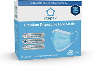 (125ct Box) Disposable Face Mask Premium Soft Earloop 3-Ply Hypoallergenic Medical Surgical Dental Flu Procedural (125 Masks (1 Box), Blue)