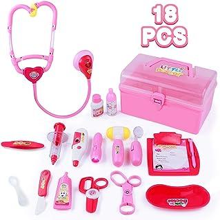 Maletin Medicos Juguete,18 Accesorios Doctora Juguetes Juegos Niños 3 4 5 6 Años Incluye Luces y Sonidos de Imitación Juego de rol para Niñas(Rosa)